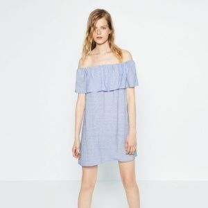 ZARA BLUE OFF-THE-SHOULDER DRESS S MADE IN SPAIN